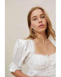 For Love & Lemons Carey Cropped Blouse - White
