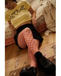 Urban Outfitters Pink Checkerboard Smile Print Tights