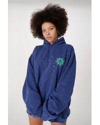 Urban Outfitters Uo Celestial Eye Hoodie Dress - Blue