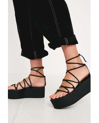 Urban Outfitters Uo Asha Lace-up Wedge Sandal - Black
