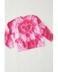 Urban Renewal Recycled Heart Tie-dye Crew Neck Sweatshirt - Pink