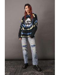 Urban Outfitters Uo Velour Tie-die Mushrooms Hoodie Sweatshirt - Blue