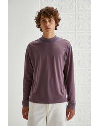 BDG Everyday Mock Neck Long Sleeve Tee - Purple