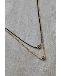 Urban Outfitters Happy Face Double Layer Necklace - Metallic