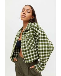 BDG Claire Cropped Flannel Shirt Jacket - Green