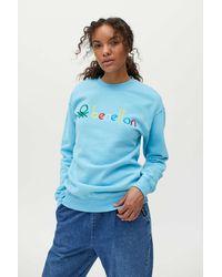 Benetton Solid Crew Neck Sweatshirt - Blue