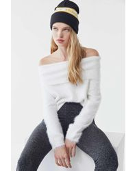 Urban Outfitters - Uo Fifi Fuzzy Off-the-shoulder Sweater - Lyst