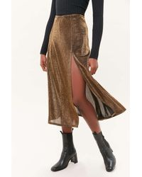 Urban Outfitters - Uo Alexia Sparkly Side-slit Midi Skirt - Lyst