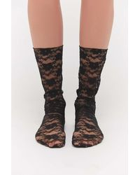 Urban Outfitters Floral Lace Crew Sock - Black