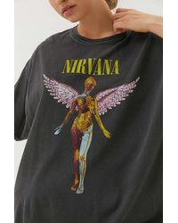 Urban Outfitters Nirvana In Utero Overdyed T-shirt Dress - Black