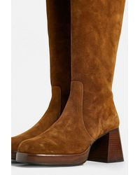 Urban Outfitters Uo Vix Knee-high Brown Suede Boots