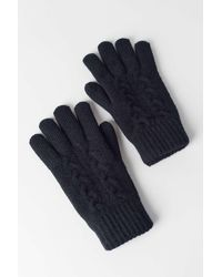 Urban Outfitters Cable Knit Chenille-lined Glove - Black