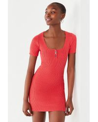 Urban Outfitters - Uo Lily Button-down Bodycon Mini Dress - Lyst
