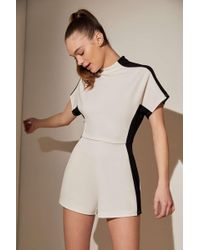 be9fd49141ed Urban Outfitters - Uo Modern Illusion Colorblock Mock Neck Romper - Lyst