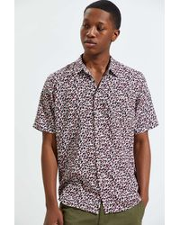Barney Cools Leopard Holiday Short Sleeve Button-down Shirt - Multicolor