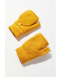 Urban Outfitters Plush Convertible Glove - Yellow