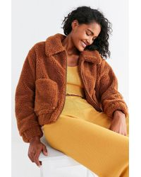 Urban Outfitters Uo Light Brown Teddy Cropped Jacket - Womens Xs