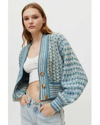 Urban Outfitters Uo Nora Cropped Cardigan - Blue