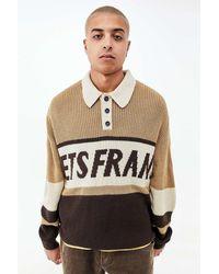 iets frans... Brown & Ecru Long Sleeve Knit Polo Shirt