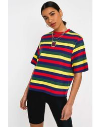 a7cf1144256 Lazy Oaf Oversized Rugby Shirt With Zip Neck In Colourblock in Red ...