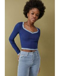 Urban Outfitters Uo Lola Pointelle Crop Top - Blue