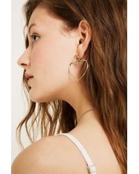 Urban Outfitters - Gold Double Heart Drop Earrings - Womens All - Lyst
