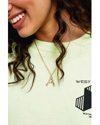 Urban Outfitters - Initial Pendant Gold Statement Necklace - Lyst