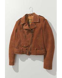 Schott Nyc Suede Cropped Moto Jacket - Brown