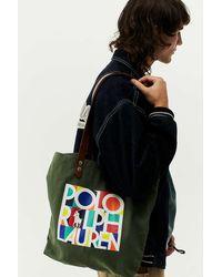 Polo Ralph Lauren Olive Printed Canvas Tote Bag - Multicolour