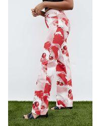 Jaded London Cherry Swirl Print Slouchy Boyfriend Fit Jeans - Red