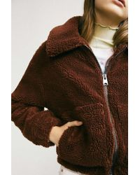 Urban Outfitters Uo Cropped Teddy Jacket - Brown