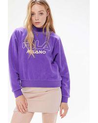Urban Outfitters x FILA Fila Uo Exclusive Vella Sherpa Mock Neck Sweatshirt - Purple
