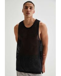 Standard Cloth Mesh Tank Top - Black