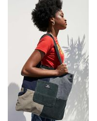 Urban Outfitters Uo Blue Patchwork Corduroy Pocket Tote Bag