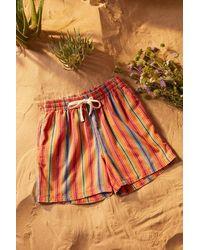 Urban Outfitters Uo Orange Baja Stripe Shorts
