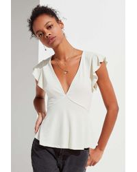 Urban Outfitters - Uo Flutter Sleeve Babydoll Top - Lyst