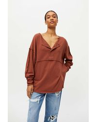 Urban Outfitters Uo Freddie Henley Tunic Top - Brown