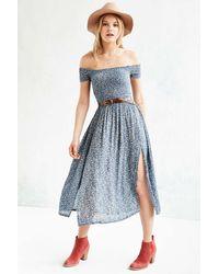 Kimchi Blue - Picnic Smocked Off-the-shoulder Midi Dress - Lyst