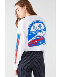 Urban Outfitters Racing Cropped Long Sleeve Tee - White