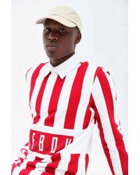 Reebok Vertical Stripe Long Sleeve Polo Shirt - Red