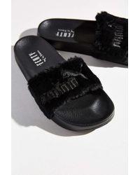 black puma fur slides