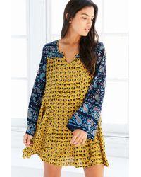 Patrons Of Peace - Print-mix Bell-sleeve Mini Dress - Lyst