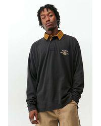 BDG Black Crest Long Sleeve Rugby Shirt