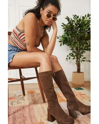 Urban Outfitters Uo Vix Knee-high Chocolate Suede Boots - Brown