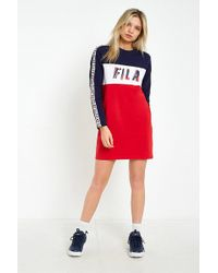 Fila | Logo Taped Striped Long Sleeve T-shirt Dress | Lyst