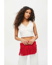 Urban Outfitters Binge Knitting Sophia Clutch - Red