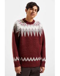 Urban Outfitters Uo Brushed Fair Isle Crew Neck Sweater - Red