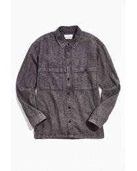 Urban Outfitters Uo Acid Wash Utility Overshirt - Multicolor