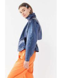 Urban Outfitters Uo Jesse Metallic Vinyl Anorak Jacket - Blue