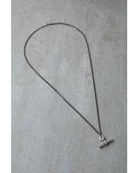 Serge Denimes Unisex Silver T-bar Necklace - Metallic